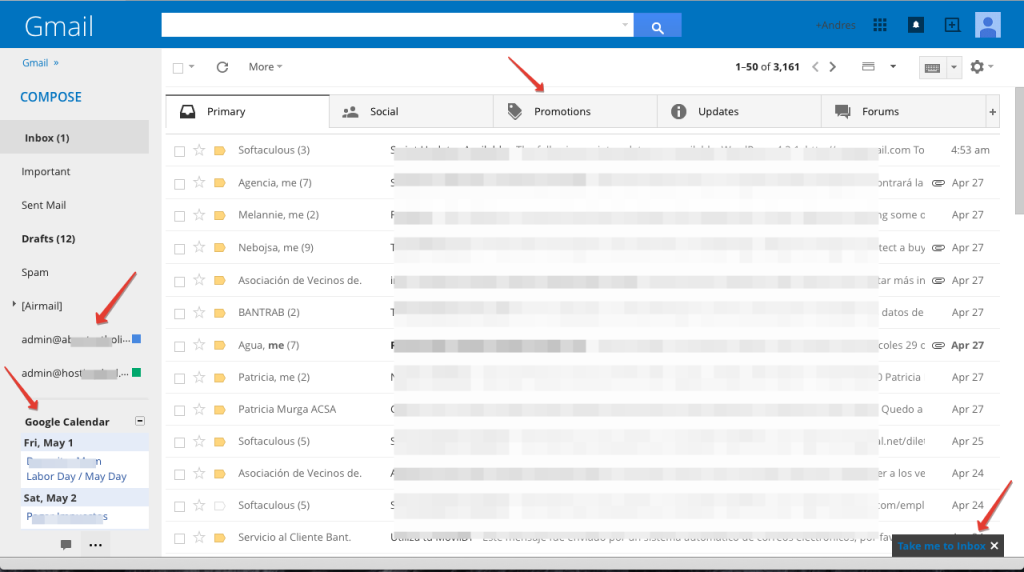 how to delete a gmail inbox